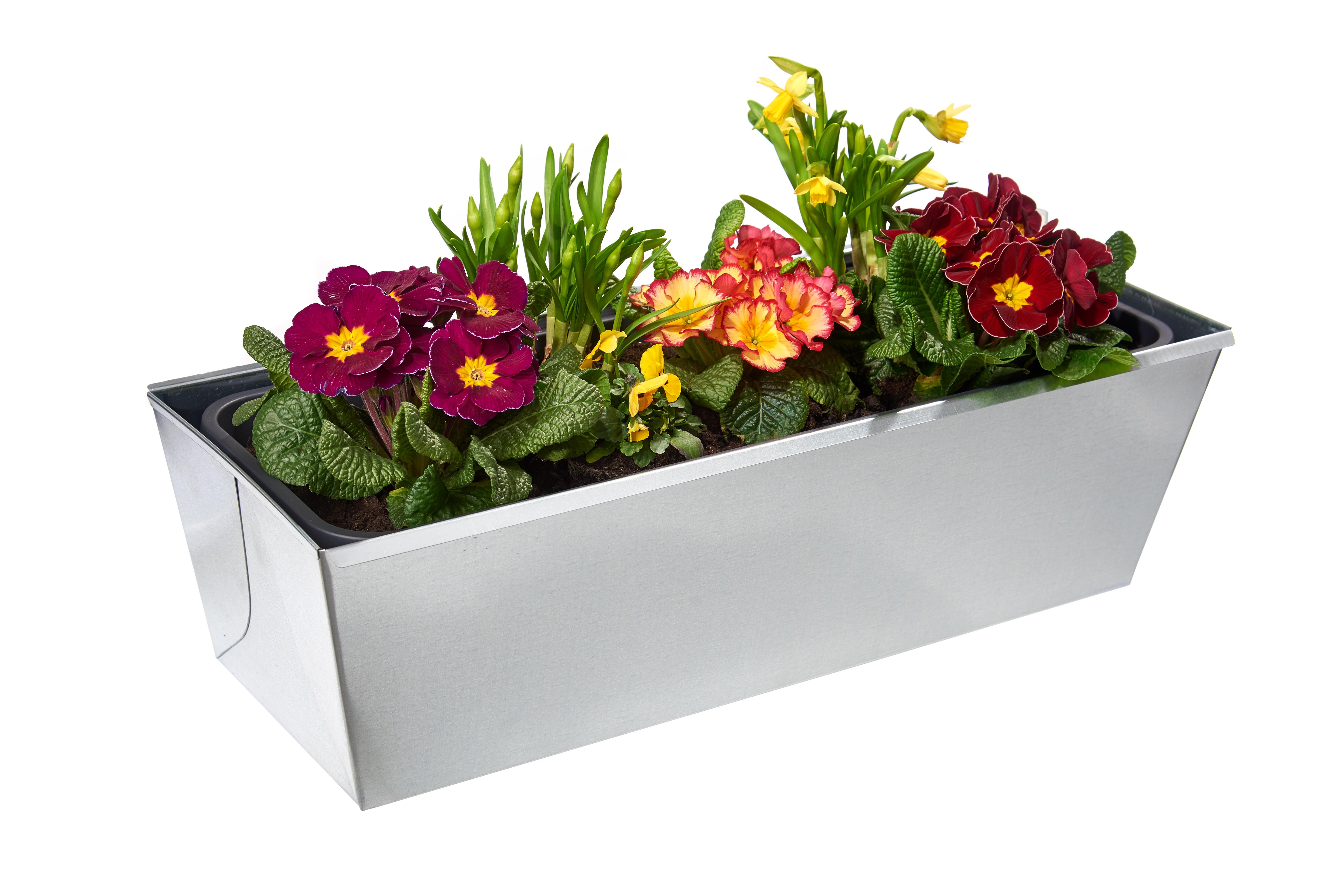 gabioka flowerbox 60cm de luxe verzinkt mit Wasserstandsanzeige und Wasserspeicher