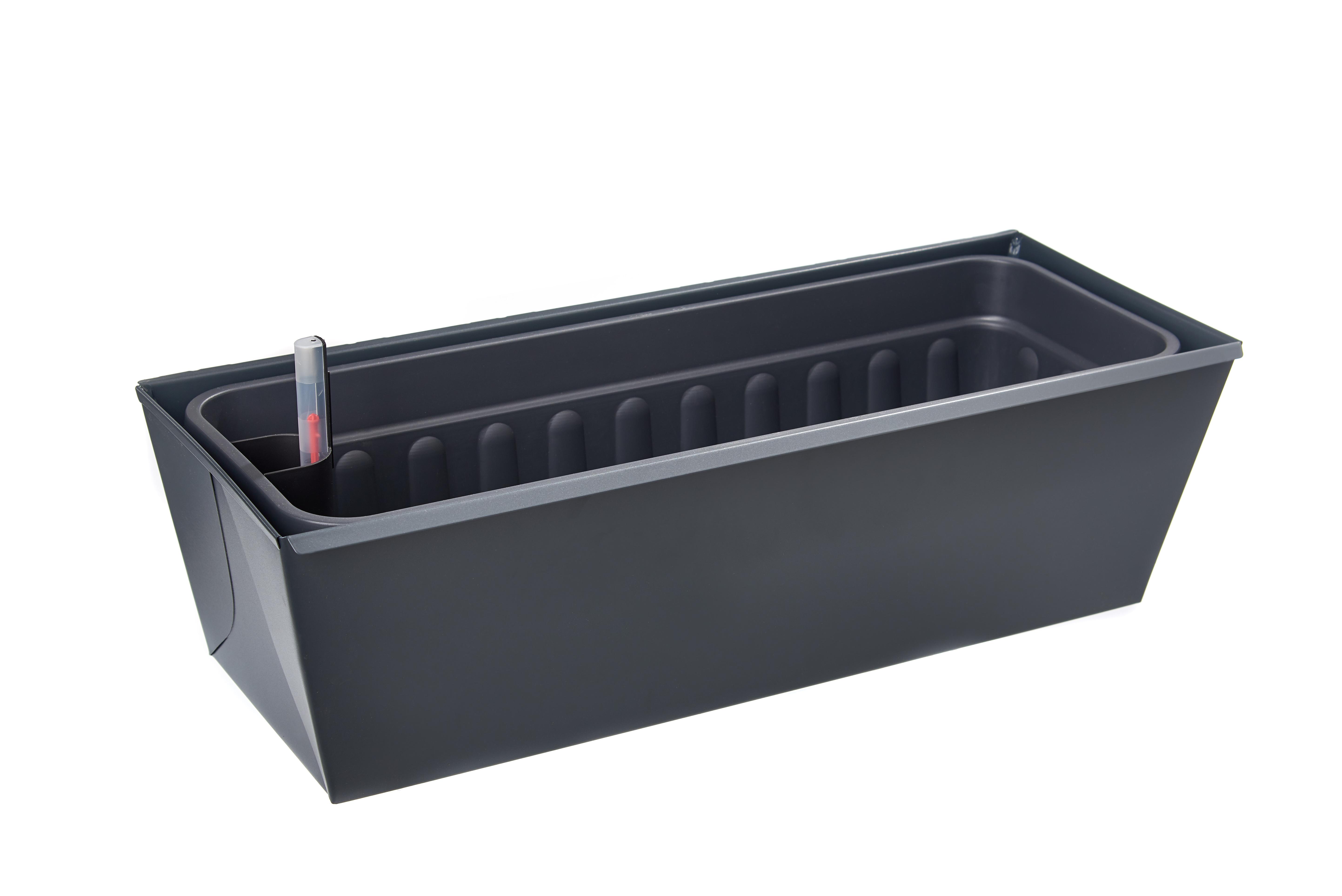 gabioka flowerbox 60cm de luxe anthrazit pulverbeschichtet (RAL 7016 glatt matt) mit Wasserstandsanzeige und Wasserspeicher